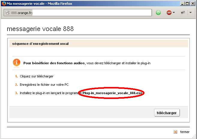 le plug in de la messagerie vocale 888 pour mac
